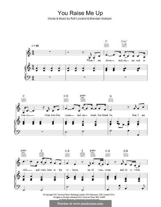 You Raise Me Up: For voice and piano or guitar (C Major) by Brendan Graham, Rolf Løvland