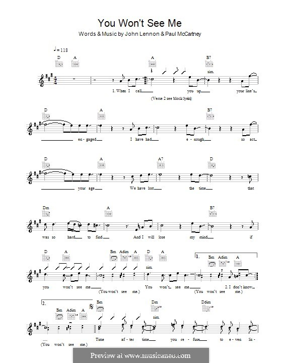You Won't See Me (The Beatles): Melody line, lyrics and chords by John Lennon, Paul McCartney