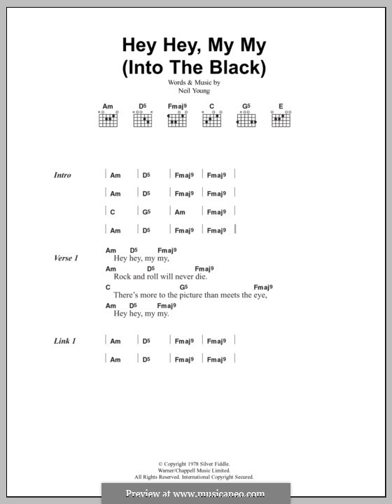 Hey Hey, My My (Into the Black): Lyrics and chords (Oasis) by Neil Young