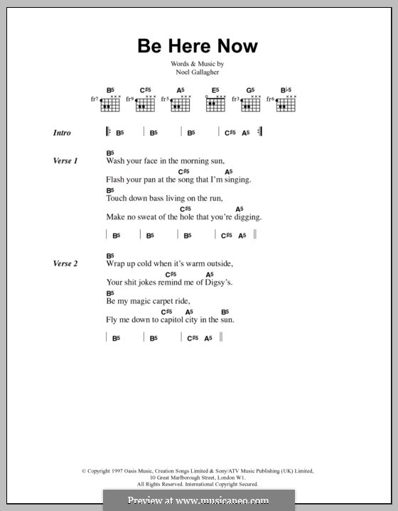 Be Here Now Oasis By N Gallagher Sheet Music On Musicaneo