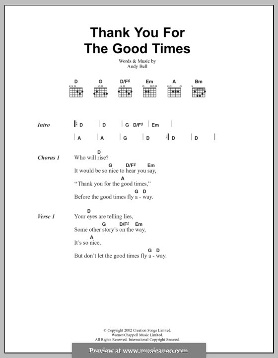 Thank You for the Good Times (Oasis): Lyrics and chords by Andy Bell