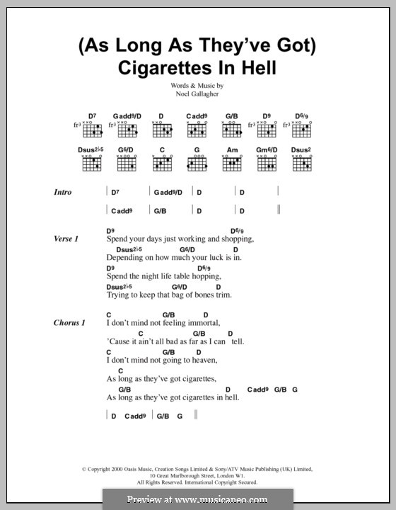 (As Long as They've Got) Cigarettes in Hell (Oasis): Lyrics and chords by Noel Gallagher