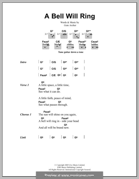 A Bell Will Ring (Oasis): Lyrics and chords by Gem Archer