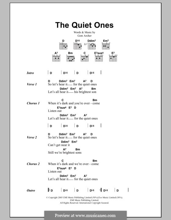 The Quiet Ones (Oasis): Lyrics and chords by Gem Archer