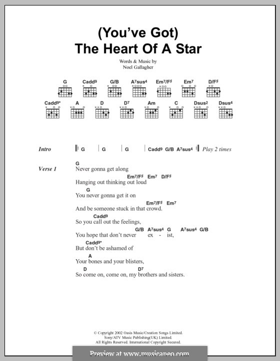 You've Got the Heart of a Star (Oasis): Lyrics and chords by Noel Gallagher