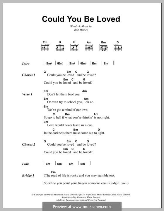 Could You Be Loved (Bob Marley and The Wailers): Lyrics and chords by Bob Marley
