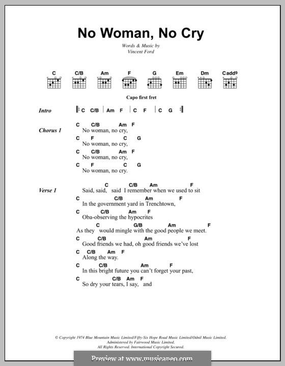 No Woman No Cry (Bob Marley): Lyrics and chords by Vincent Ford