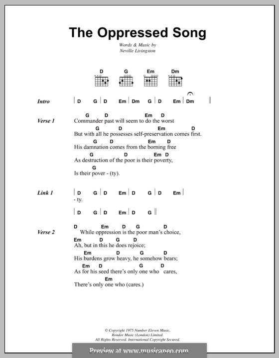The Oppressed Song (Bob Marley): Lyrics and chords by Neville Livingston