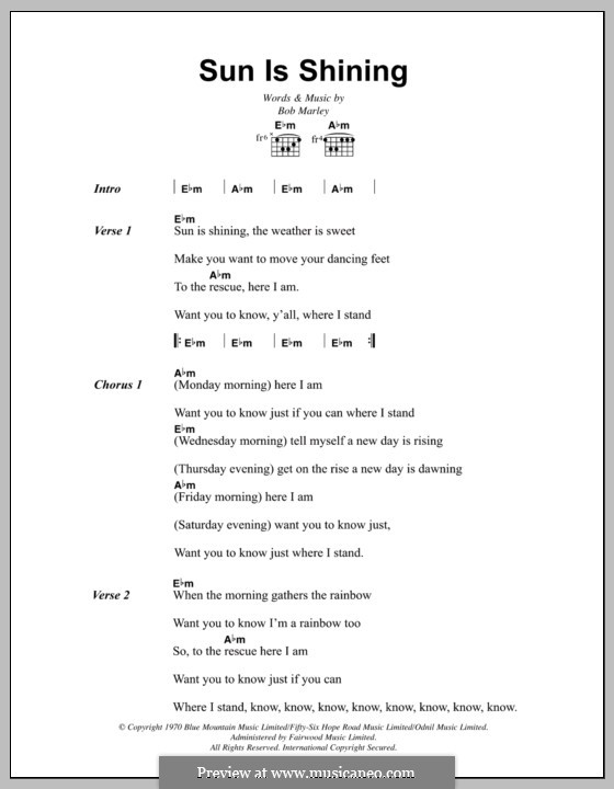 Sun Is Shining: Lyrics and chords by Bob Marley