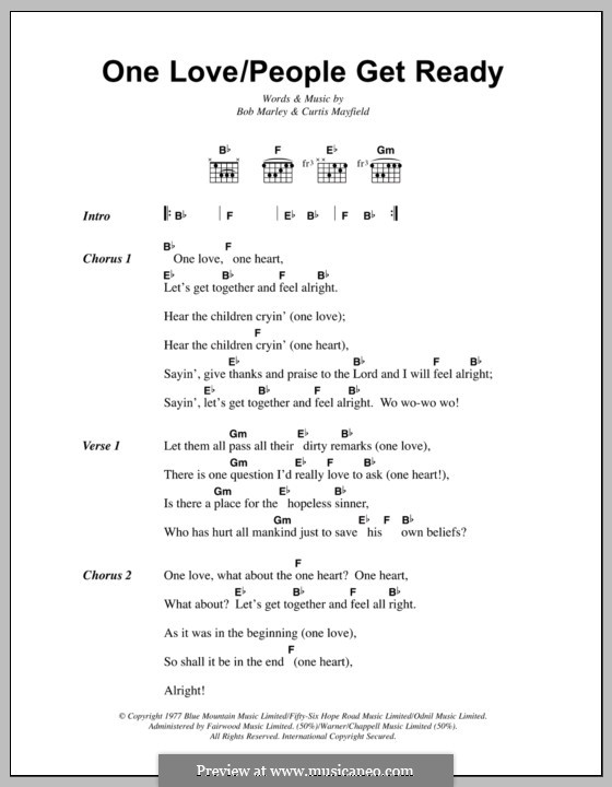 One Love / People Get Ready: Lyrics and chords by Bob Marley, Curtis Mayfield