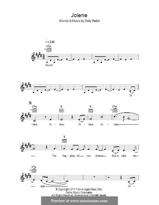 Jolene: Melody line, lyrics and chords by Dolly Parton