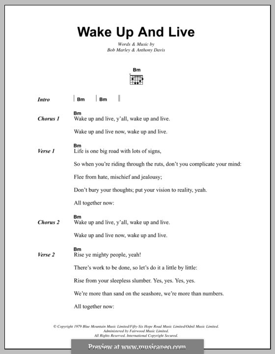 Wake Up and Live (Bob Marley): Lyrics and chords by Anthony Davis