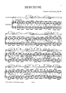 Berceuse for Cello and Piano, Op.46: Score by Daniel Van Goens