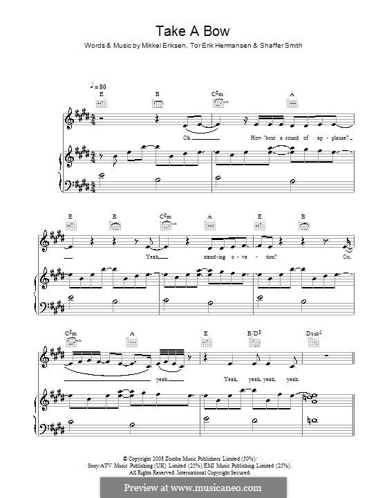 Take a Bow (Rihanna): For voice and piano (or guitar) by Mikkel Storleer Eriksen, Ne-Yo, Tor Erik Hermansen