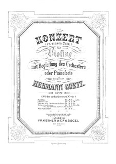 Concerto in G Major for Violin and Orchestra, Op.22: For violin and piano – score and solo part by Hermann Goetz