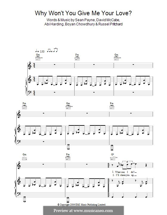 Why Won't You Give Me Your Love? (The Zutons): For voice and piano (or guitar) by Abigail Harding, Boyan Chowdhury, David McCabe, Russell Pritchard, Sean Payne