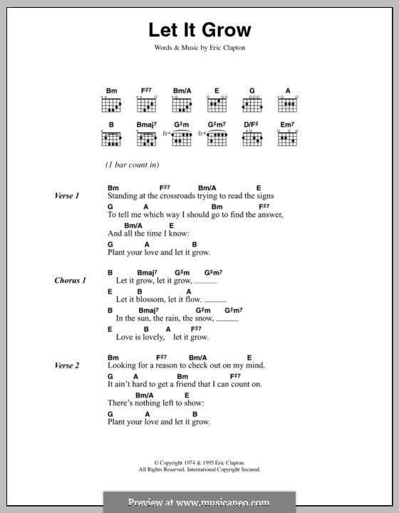 Let It Grow by E. Clapton - sheet music on MusicaNeo