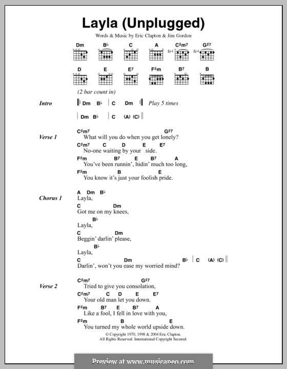Layla (Derek and The Dominos): Lyrics and chords by Jim Gordon