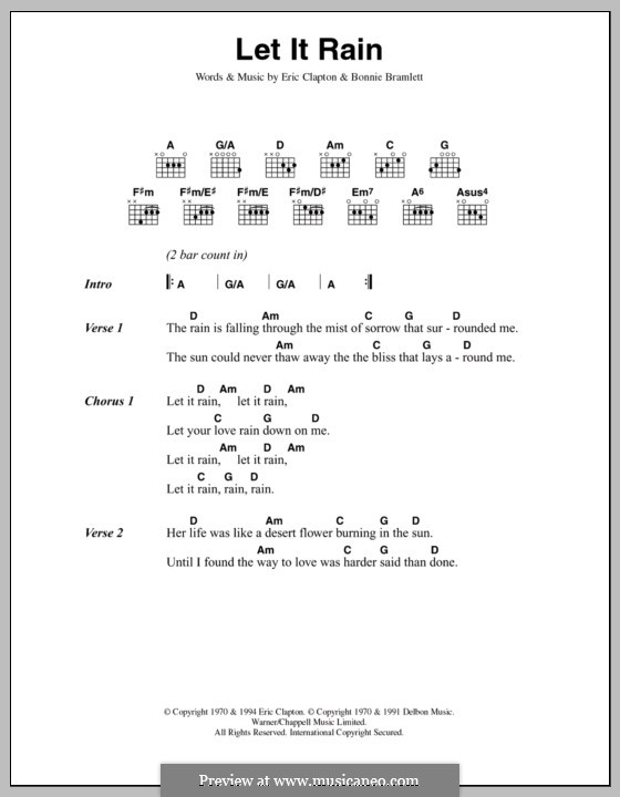 Let It Rain: Lyrics and chords by Bonnie Bramlett