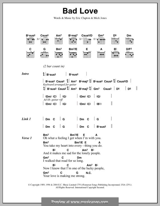 Bad Love By M Jones Sheet Music On Musicaneo