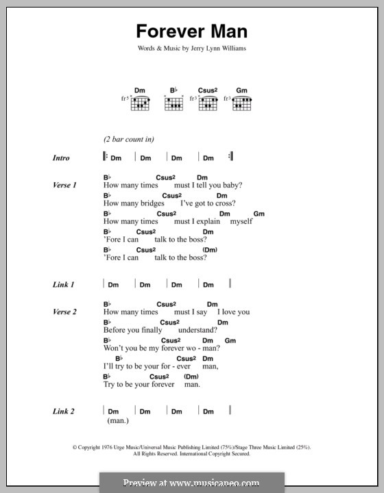 Forever Man (Eric Clapton) by J.L. Williams - sheet music on MusicaNeo