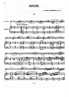 Sonata for Violin and Piano, Op.25: Score by Karl Goldmark
