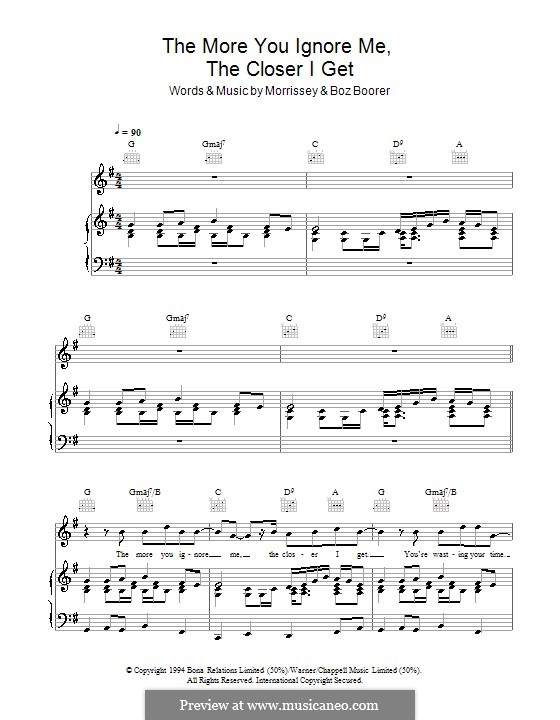 The More You Ignore Me, the Closer I Get: For voice and piano (or guitar) by Morrissey, Boz Boorer