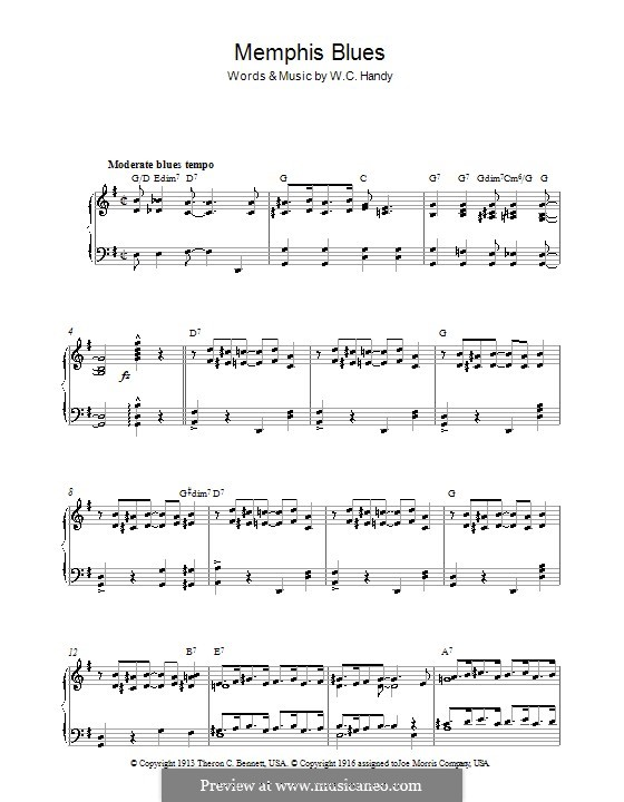 Memphis Blues: For piano by William Christopher Handy
