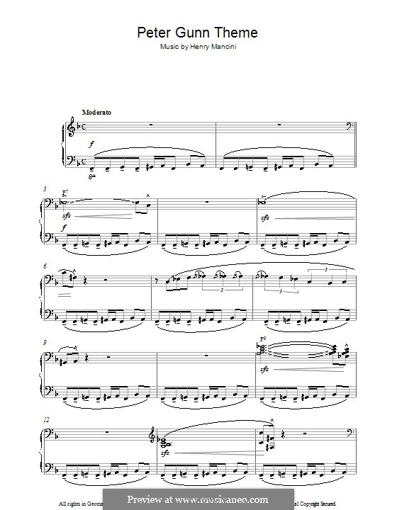 Vocal-instrumental version: For piano by Henry Mancini