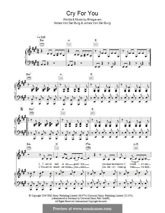 Cry for You (September): For voice and piano (or guitar) by Anno Bhagavan, Jonas Von Der Burg, Niclas Von Der Burg