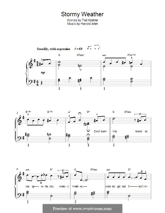 Stormy Weather (Lena Horne): For easy piano by Harold Arlen