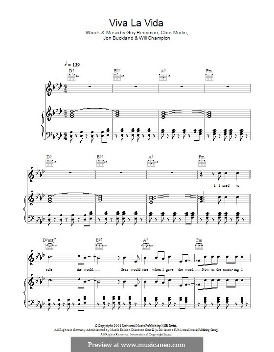 Piano-vocal score: For voice and piano (or guitar) by Chris Martin, Guy Berryman, Jonny Buckland, Will Champion