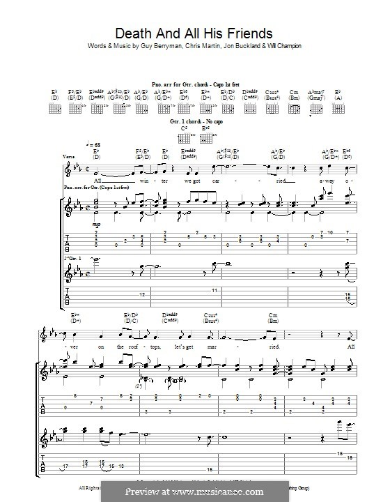 Death and All His Friends (Coldplay): For guitar with tab by Chris Martin, Guy Berryman, Jonny Buckland, Will Champion