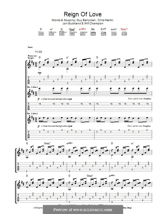 Reign of Love (Coldplay): For guitar with tab by Chris Martin, Guy Berryman, Jonny Buckland, Will Champion