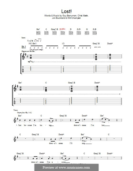 Lost! (Coldplay): For guitar with tab by Chris Martin, Guy Berryman, Jonny Buckland, Will Champion