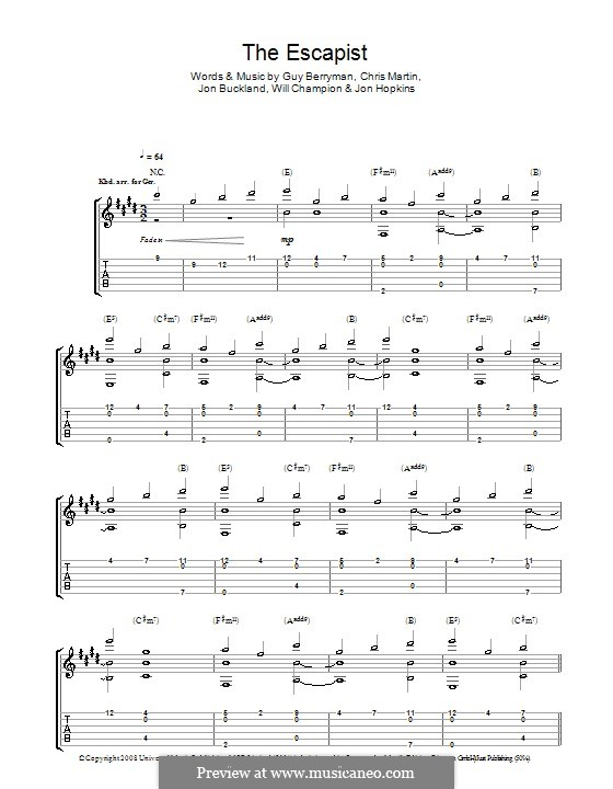 The Escapist (Coldplay): For guitar with tab by Chris Martin, Guy Berryman, Jonny Buckland, Jon Hopkins, Will Champion