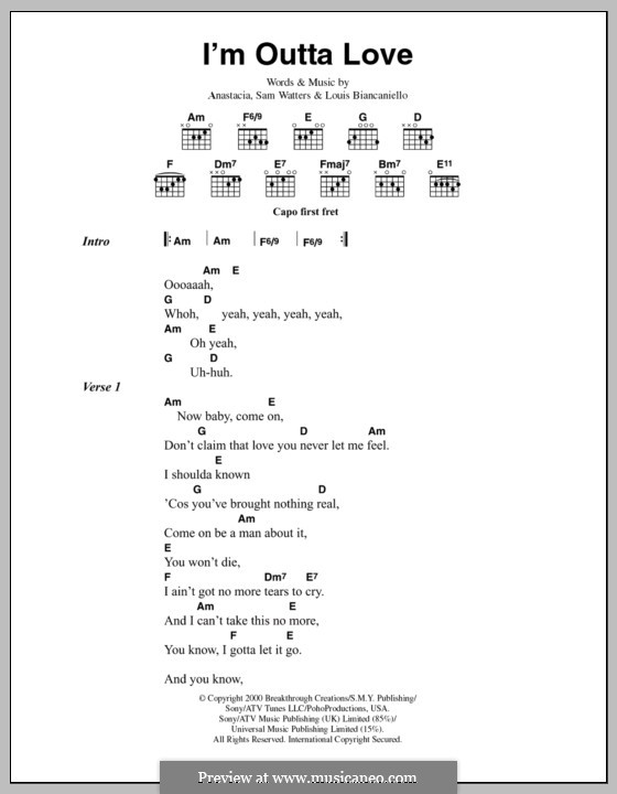I'm Outta Love: Lyrics and chords by Anastacia, Louis Biancaniello, Samuel Watters