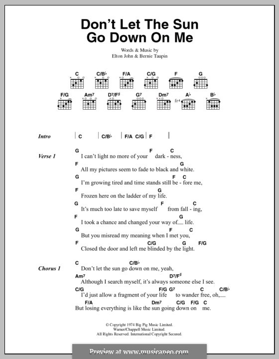Don't Let the Sun Go Down on Me: Lyrics and chords by Elton John