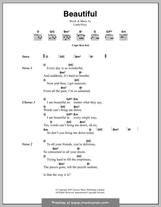 Beautifull (Christina Aguilera & Beverly McClellan): Lyrics and chords by Linda Perry