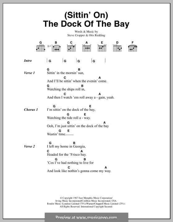(Sittin' On) The Dock of the Bay: Lyrics and chords by Otis Redding, Steve Cropper