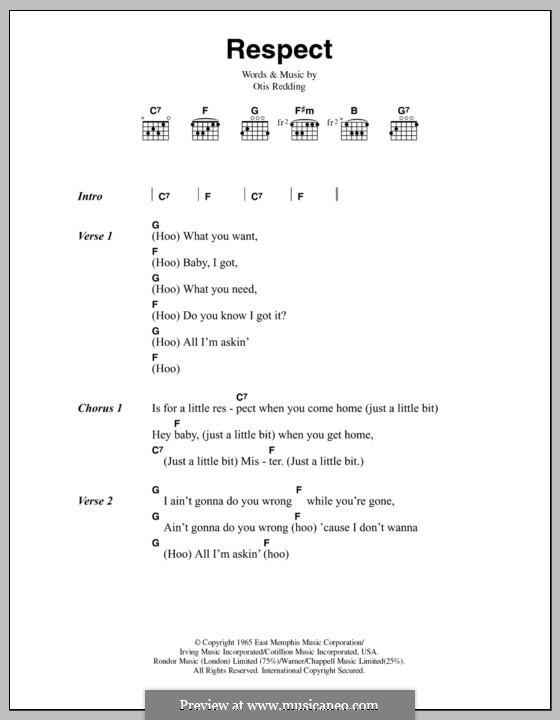 Respect (Aretha Franklin): Lyrics and chords by Otis Redding