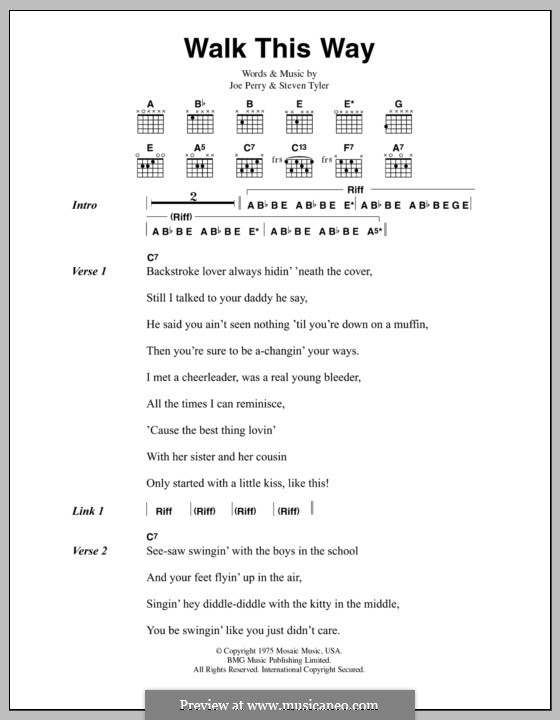 Walk This Way (Aerosmith and Run D.M.C.): Lyrics and chords by Joe Perry, Steven Tyler