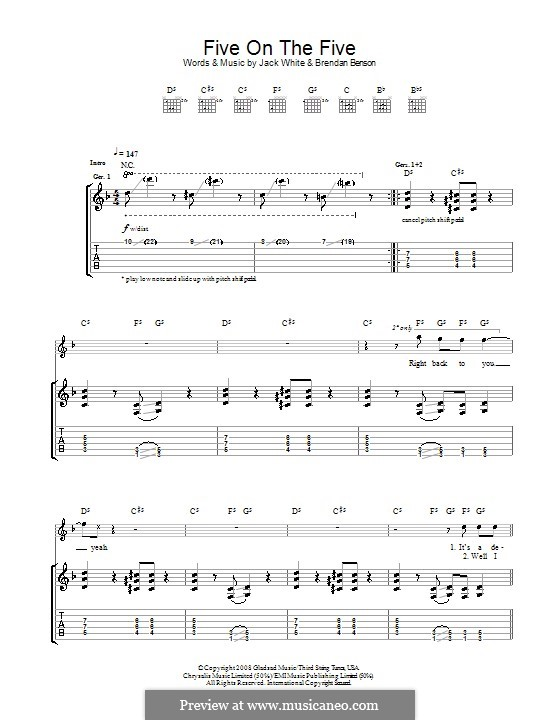 Five on the Five (The Raconteurs): For guitar with tab by Brendan Benson, Jack White