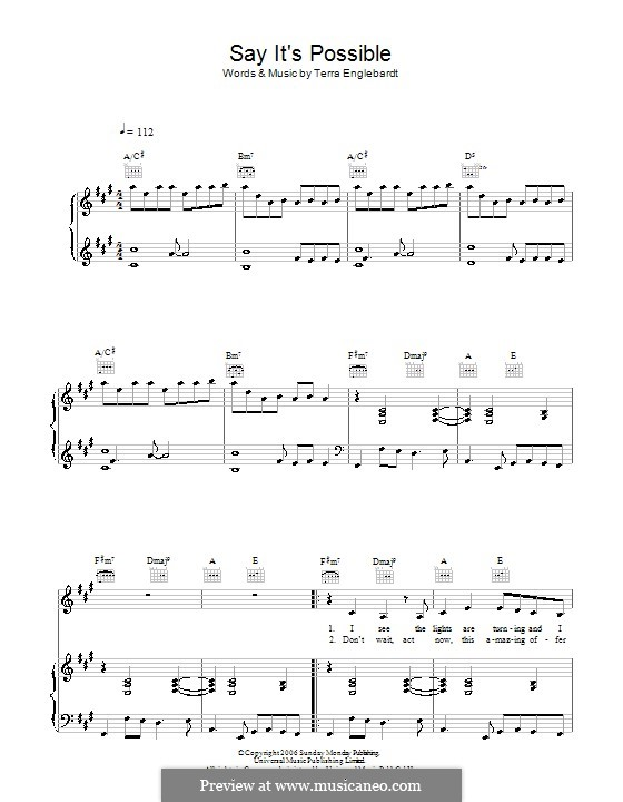Say It's Possible (Terra Naomi): For voice and piano (or guitar) by Terra Englebardt