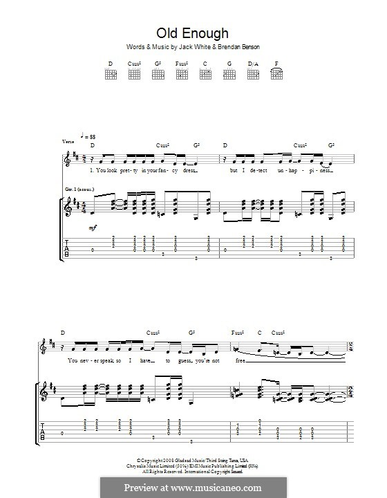 Old Enough (The Raconteurs): For guitar with tab by Brendan Benson, Jack White