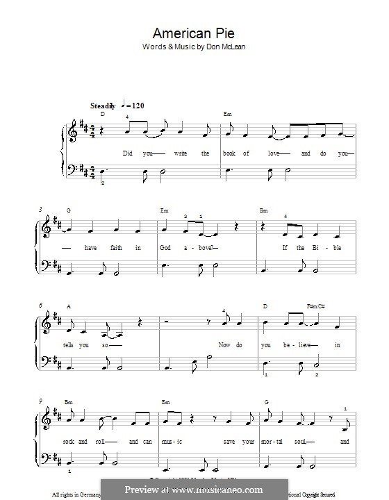 American Pie (Madonna): For easy piano by Don McLean