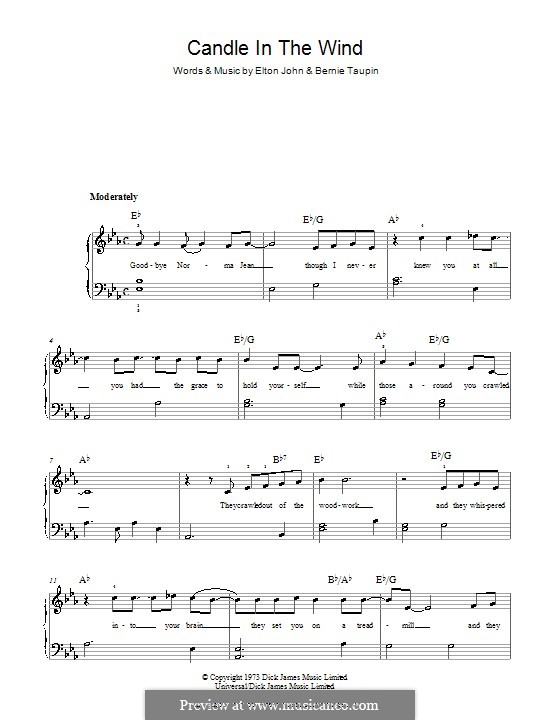 Candle in the Wind: For easy piano by Elton John