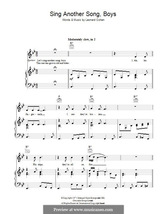 Sing Another Song, Boys: For voice and piano (or guitar) by Leonard Cohen