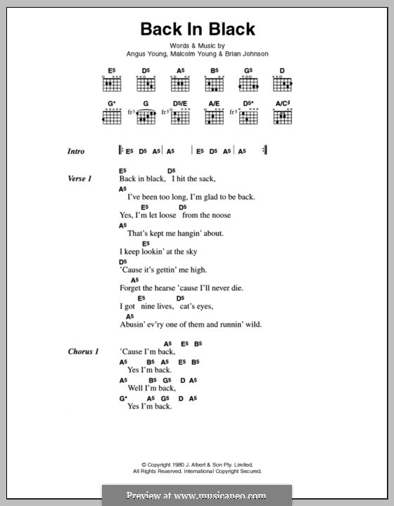 Back in Black (AC/DC): Lyrics and chords by Angus Young, Brian Johnson, Malcolm Young