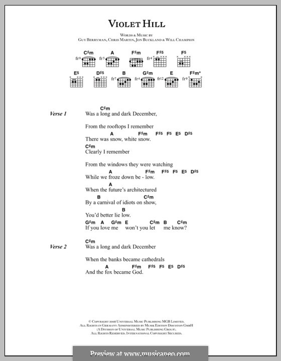 Violet Hill (Coldplay): Lyrics and chords by Chris Martin, Guy Berryman, Jonny Buckland, Will Champion